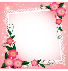 background with flowers and paper lace vector image