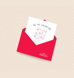 Be my valentine day greeting card with envelope vector