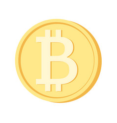 Bitcoin icon yellow coin blockchain cryptocurrency vector