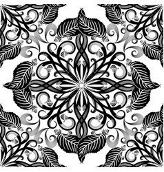 Black and white elegance floral seamless pattern vector
