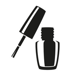 Black and white open nail polish silhouette vector