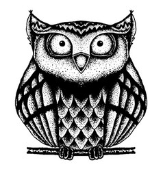 black and white owl painted dots vector image