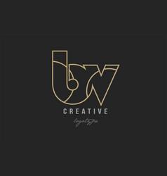 black and yellow gold alphabet letter bv b v logo vector image