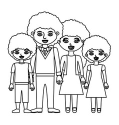 Black contour curly hair family group in formal vector