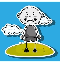 boy kid cloud meadow icon vector image