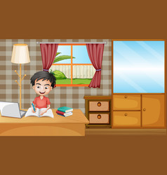 Boy study from home vector