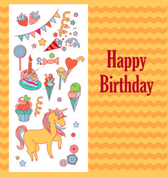 Bright birthday card with unicorn flower ice vector