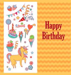 bright birthday card with unicorn flower ice vector image