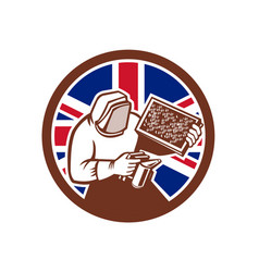 British beekeeper union jack flag icon vector