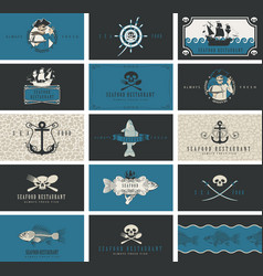business cards for seafood restaurant with pirate vector image