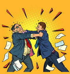 businessmen fighting conflict competition vector image