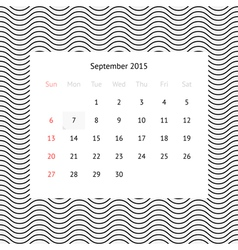 Calendar page for September 2015 vector image