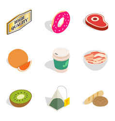 calories icons set isometric style vector image