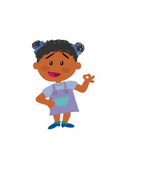 cartoon character black girl in approval attitude vector image