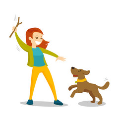 Caucasian white woman training dog with stick vector