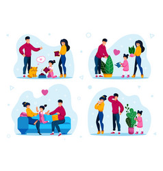 Child home duties family recreation set vector