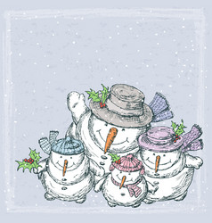 Christmas card with a family cheerful snowmen vector