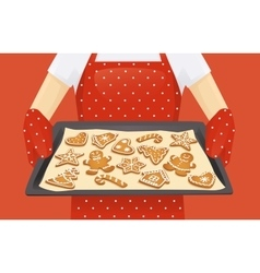 Christmas cookies background vector image