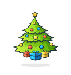 christmas tree with gifts under it vector image