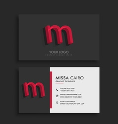 Clean dark business card with letter M vector