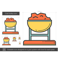 Coal trolley line icon vector