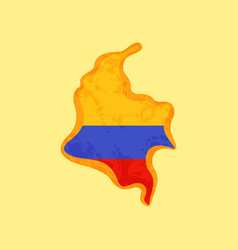 Colombia - map colored with colombian flag vector