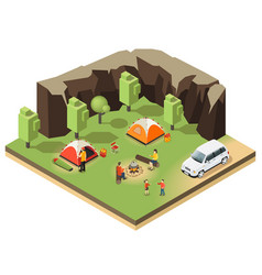 colorful isometric outdoor recreation concept vector image
