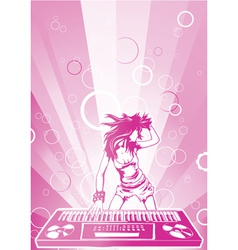 Concert poster with dj girl vector