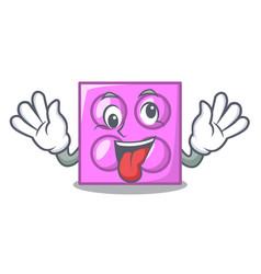 Crazy toy brick mascot cartoon vector