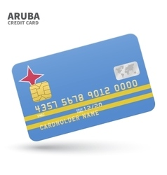 Credit card with Aruba flag background for bank vector