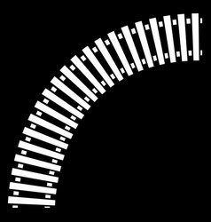 curving train track rail track silhouette isolated vector image