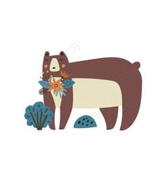 cute cartoon bear character with flower vector image