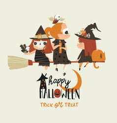 cute halloween redheaded witches flying on broom vector image