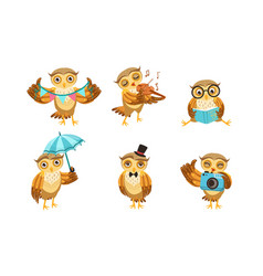 cute owl cartoon character set adorable funny vector image
