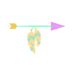Decorative arrows with feathers boho style vector