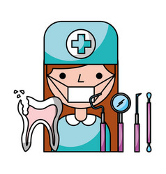 dentist woman broken tooth tools hygiene dental vector image