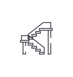 double stairs line icon sign vector image