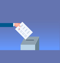 Election day concept voter hand putting paper vector