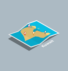 Explore kuwait maps with isometric style and pin vector