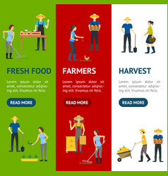 farmers work 3d banner vecrtical set isometric vector image