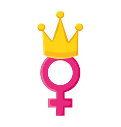Female gender symbol with crown pop art style vector