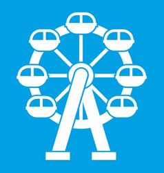 Ferris wheel icon white vector