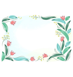 Floral frame with pink spring flowers tulips posy vector