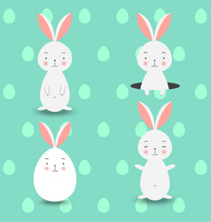 Four rabbits on blue eggs background vector