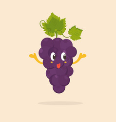funny happy grape character design vector image