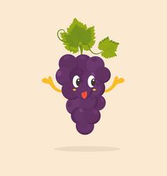 Funny happy grape character design vector