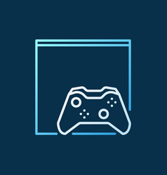 gamepad with video game console colored outline vector image