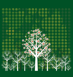green background of landscape with trees vector image