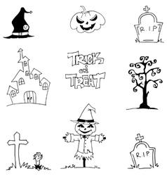 Halloween element doodle vetor art castle tomb vector image