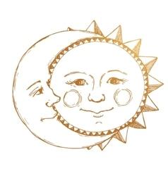Hand drawn sun with moon vector
